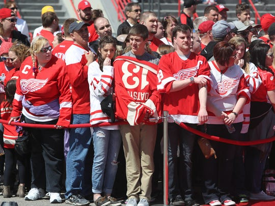 Detroit Red Wings fans arrive early for the last game at Joe  Louis Arena against the New Jersey Devils Sunday, April 9, 2017 at Joe Louis in Detroit.