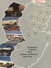 Illustration from the 1971 R.H. Macy & Co. Annual Report showing the 12 Bamberger's locations.