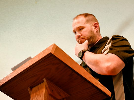 New senior pastor Josh Magrum delivers a sermon at