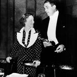 """Bette Davis and Victor McLaglen are shown after winning their Oscars at the 1935 Academy Awards banquet held at the Biltmore Bowl, Biltmore Hotel in Los Angeles. Davis was named best actress for her role in """"Dangerous,"""" and McLaglen won best actor for his performance in """"The Informer."""""""