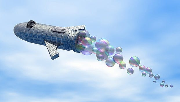 Artist Guest of Honor Peri Charlifu created this image of a bubble-propelled rocketship for the cover of this year's MidSouthCon program.