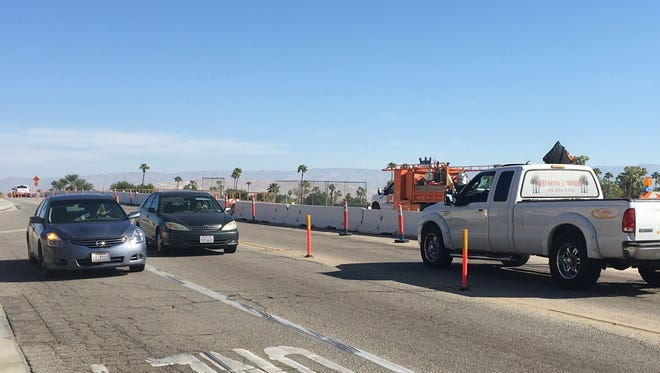 Traffic flows on the Date Palm Drive bridge, which is being widened in Cathedral city.