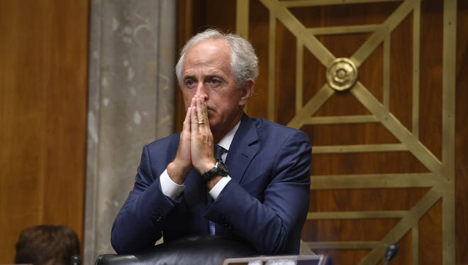 Sen. Bob Corker (R-Tenn.) listens as Iowa Gov. Terry Branstad speaks to the Senate Foreign Relations CommitteeTuesday, May 2, 2017, during his confirmation hearing in Washington, D.C.