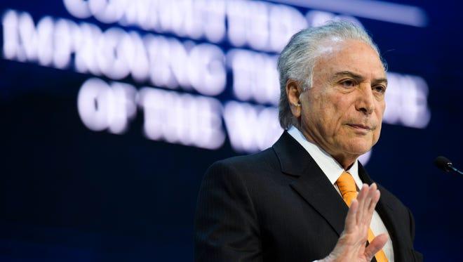Brazilian President Michel Temer speaks at the World Economic Forum, in Davos, Switzerland, on Jan. 24, 2018.