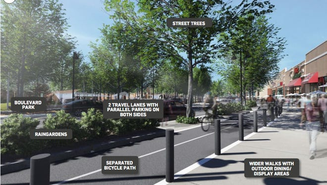 Dramatic changes to the Riverfront District address a number of existing challenges. Reconfiguring this segment of State Street to make space for a boulevard, widening sidewalks for outdoor dining and display space, running the separated/dedicated bicycle path between the widened sidewalks and parallel parking would activate and revitalize Wabash landing.