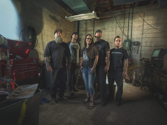 The crew of Mobsteel, a Detroit-based car restoration shop and new NBC Sports reality series.
