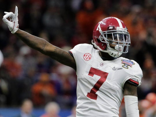 Jan 1, 2018; New Orleans, LA, USA; Alabama Crimson Tide defensive back Trevon Diggs (7) reacts during the third quarter against the Clemson Tigers in the 2018 Sugar Bowl college football playoff semifinal game at Mercedes-Benz Superdome. Mandatory Credit: Derick E. Hingle-USA TODAY Sports