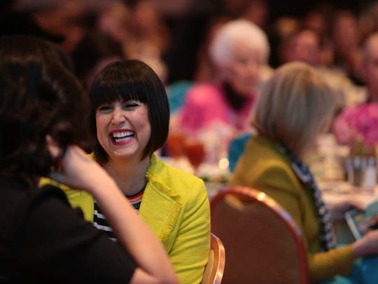 Fashion designer Trina Turk attends Women's Leadership Forum luncheon, where she is honored with Desert Visionary Award.