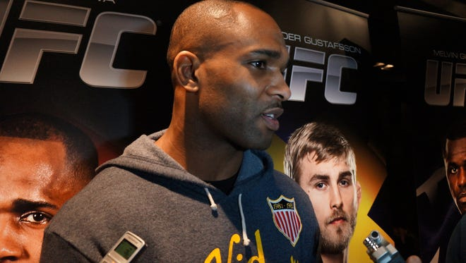 Jimi Manuwa meets with media members ahead of his UFC Fight Night 37 bout against Alexander Gustafsson.