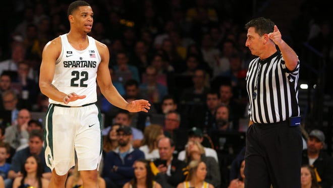 Mar 3, 2018; New York, NY, USA; Michigan State Spartans guard Miles Bridges (22) talks to an official during the first half of a semifinal game of the 2018 Big Ten Tournament against the Michigan Wolverines at Madison Square Garden. Mandatory Credit: Brad Penner-USA TODAY Sports