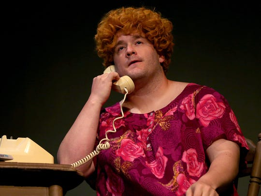 "Casey Baccus stars in the Angelo Civic Theatre's production of ""Greater Tuna"" in which he portrays numerous hilarious characters. (Adam Sauceda/Standard-Times)