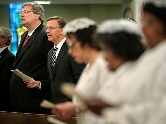 Gov. Bill Haslam and Memphis Mayor Jim Strickland (left) visit Greenwood CME and several other area churches to spread the good news about availability of educational and employment opportunities in Memphis.