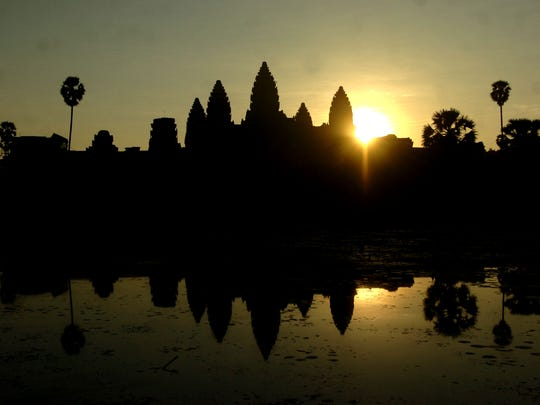 The sunrise at Angkor Wat temple in Cambodia.