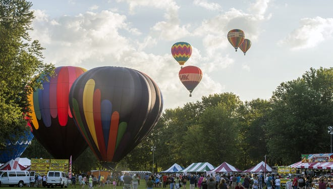 More than a dozen hot air balloons took to the sky Aug. 1, 2015 at Spiedie Fest.