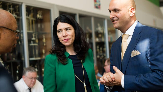Former Interim Superintendent Alycia Meriweather and new Detroit Superintendent Nikolai Vitti greet people during the DPSCD Teacher Recruitment Fair on Tuesday, May 23, 2017 at Martin Luther King High School in Detroit. Vitti has decided to hireMerriweather as his first deputy superintendent.