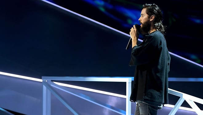 Jared Leto speaks onstage during the MTV Video Music Awards on Aug. 27, 2017 in Inglewood, Calif.