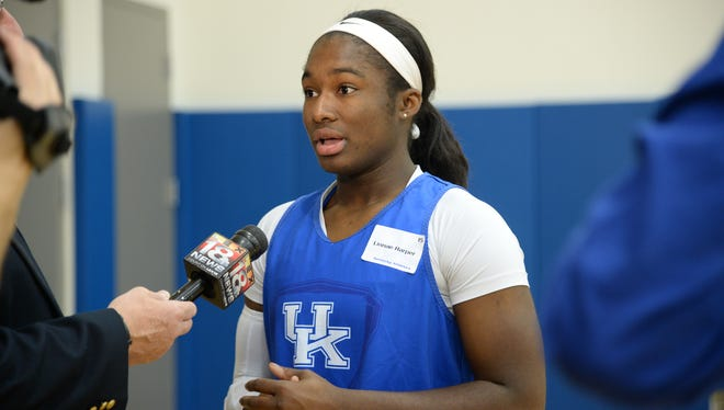 Sophomore guard Linnae Harper during the University of Kentucky Women's Basketball media day in Lexington, Ky. Wednesday, October 29, 2014.