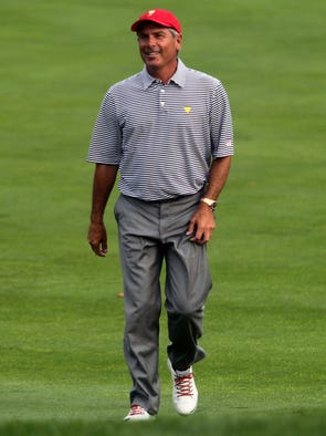 Fred Couples walks up to the 11th green during the second round of the President's Cup at Muirfield Village Golf Club.
