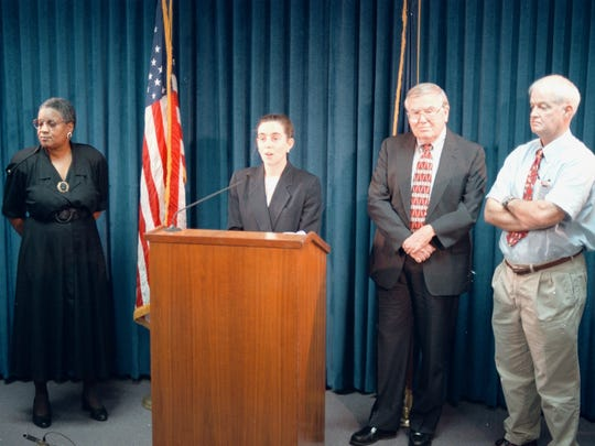 Newly elected Senate Minority Leader Kate Brown, D-Portland, (second from left) talks about her new post in 1998.