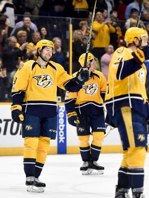 Nashville Predators left wing Filip Forsberg (9) celebrates after they defeated the Colorado Avalanche 4-2 at Bridgestone Arena in Nashville, Tenn., Thursday, Feb. 23, 2017.
