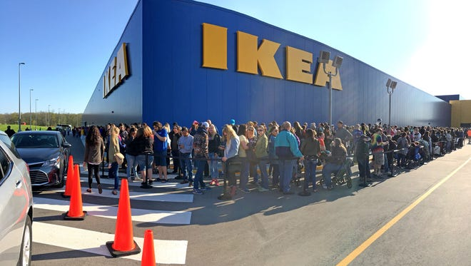 People line up for the grand opening of an IKEA near Milwaukee, Wisconsin.