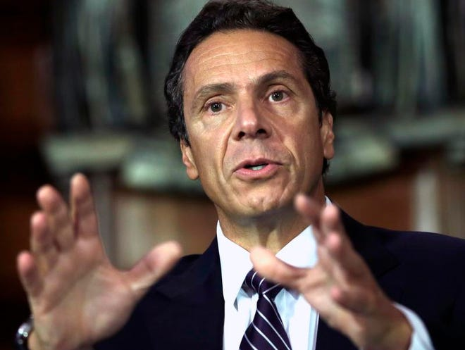 A 2012 file photo of New York Gov. Andrew Cuomo speaking during a news conference in the Red Room at the Capitol.