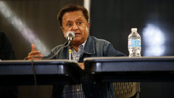 Actor Deep Roy speaks to guests of Alt Con, a fantasy and Sci-fi festival on the North Florida Fair grounds on Saturday, March 16, 2016.