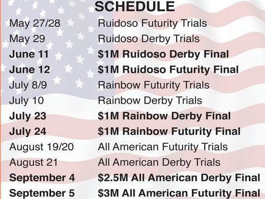Calendar for the three major stakes events at Ruidoso