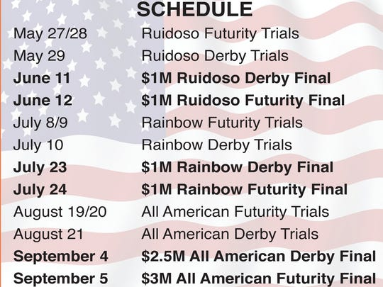 Calendar for the three major stakes events at Ruidoso Downs Racetrack.