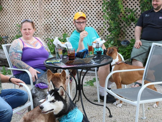 Guests and dogs socialize at Yappy Hour at MoJo in