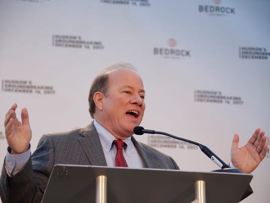 Detroit Mayor Mike Duggan speaks during Hudson's site groundbreaking Thursday, Dec. 14, 2017.
