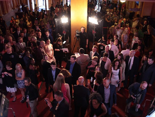 People arrive for the Detroit Free Press Sports Awards on Friday.