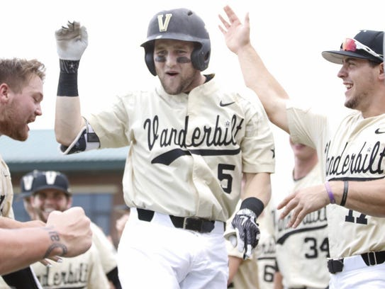 Vanderbilt freshman Philip Clarke (5) celebrates after