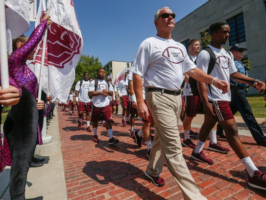 Missouri State University head coach Dave Steckel walks