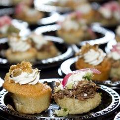 Horchata cupcake and a Masa Sope , with braised goat and pickled red onion from The Buttes in Tempe at, The 8th Annual Phoenix Cooks, at the Westin Kierland Resort & Spa in Phoenix on Sept 1 2012.