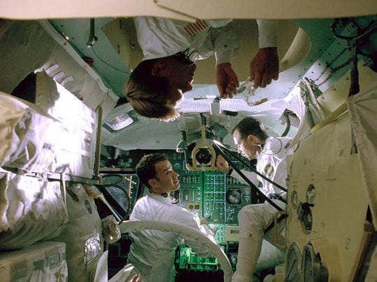 """Astronauts played by Kevin Bacon (clockwise from top), Bill Paxton and Tom Hanks have to face an uncertain future after an explosion endangers their trip to the moon in """"Apollo 13."""""""
