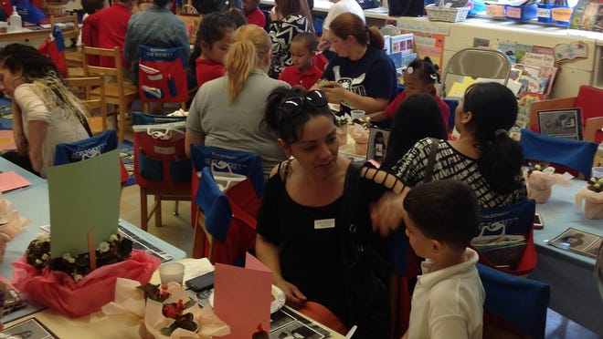 Mothers and grandmothers of kindergarten students attended a Mother's Day Tea at Dane Barse School.