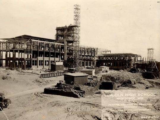 Lincoln under construction 1923.  Result of combining school districts.JPG