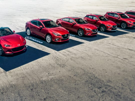 Full lineup of Mazda's cars and crossovers