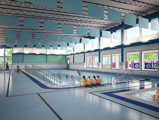 A rendering of a new swimming facility proposed for