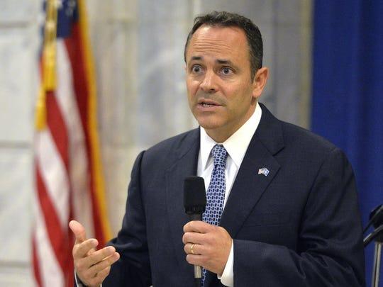 Kentucky governor-elect Matt Bevin answers a question