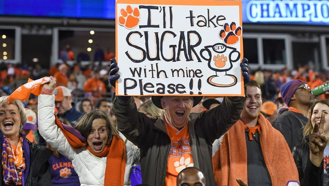Clemson fans during the 4th quarter of the ACC championship game against Miami at Bank of America Stadium in Charlotte on Saturday, December 2, 2017.