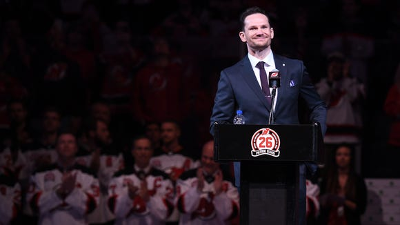 Patrik Elias during his jersey retirement ceremony before the start of the the game on Saturday, February 24, 2018.