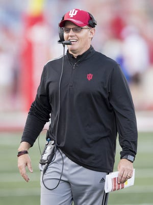 Tom Allen during the annual Cream vs. Crimson scrimmage at Indiana University, Memorial Stadium, Bloomington, April 13, 2017.
