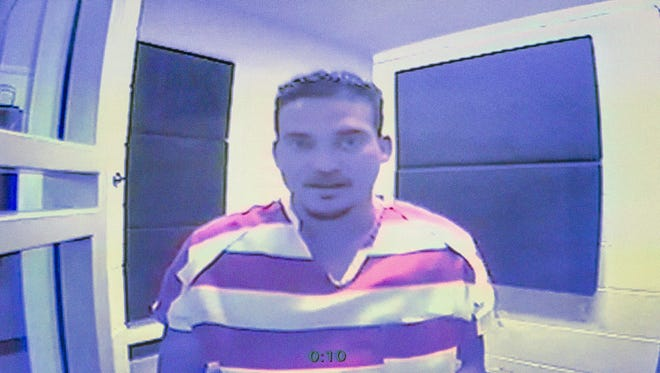 Sigfredo Garcia appears via video feed for his first hearing at the Leon County Court House Thursday morning.