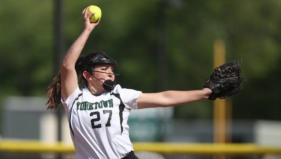 Yorktown's  Erica Salveggi (27) pitching against Suffern