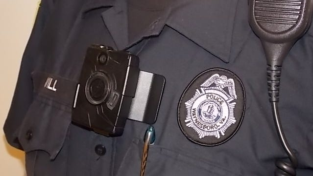 A Waynesboro police officer is shown wearing a body camera.