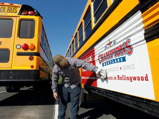 School bus advertising, TX.