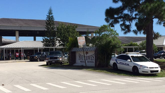 Police at Southwest Middle School in Palm Bay.