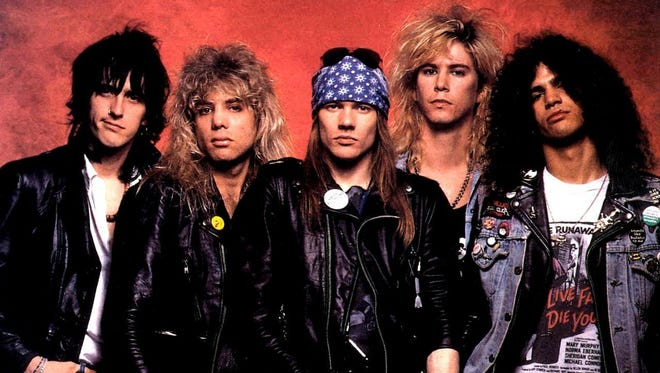 Guns 'n Roses, circa 1987.  From left: Izzy Stradlin, Steven Adler, Axl Rose, Duff McKagan, Slash.  Credit: Geffen Records.